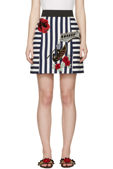 Dolce & Gabbana - White & Navy Embroidered Miniskirt