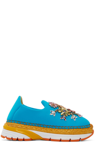 Dolce & Gabbana - Blue Neoprene Embellished Sneakers