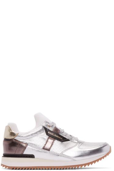 Dolce & Gabbana - Silver Metallic Low-Top Sneakers