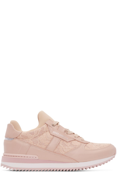 Dolce & Gabbana - Pink Lace & Leather Low-Top Sneakers