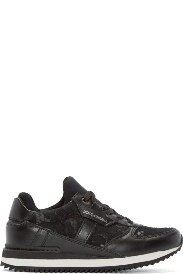 Dolce & Gabbana - Black Lace & Leather Sneakers
