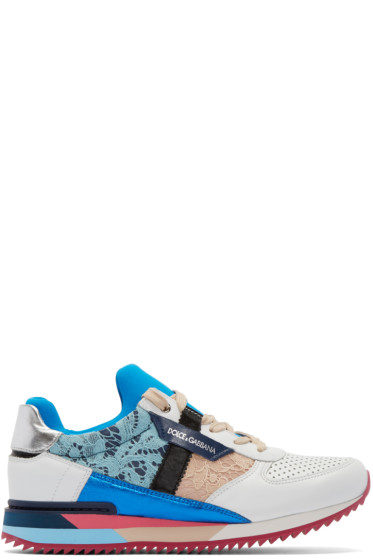 Dolce & Gabbana - Multicolor Leather & Lace Sneakers