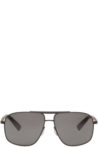 Dolce & Gabbana - Black Rubber Aviator Sunglasses