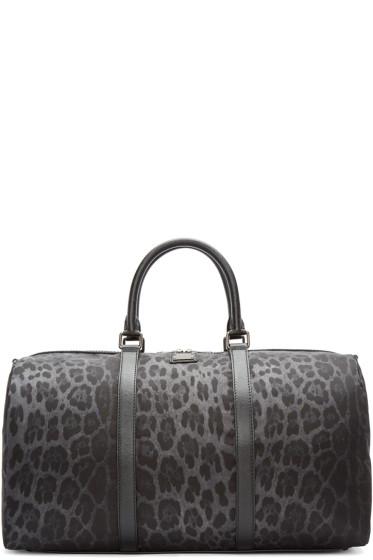 Dolce & Gabbana - Grey Nylon Leopard Duffle Bag