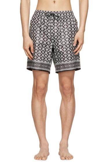 Dolce & Gabbana - Black & White Bird Swim Shorts