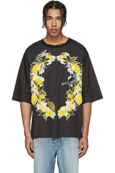 Dolce & Gabbana - Black Polka Dot Bird T-Shirt