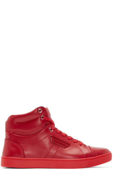Dolce & Gabbana - Red London High-Top Sneakers