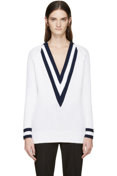 Rag & Bone - White V-Neck Talia Sweater