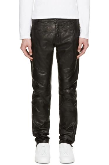 Diesel Black Gold - Black Leather Biker Pants