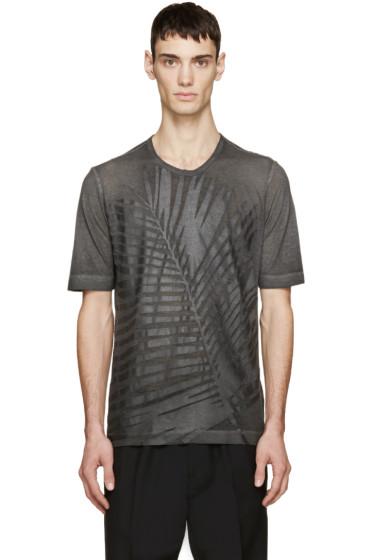 Diesel Black Gold - Grey Leaf Print T-Shirt