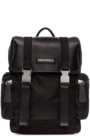 Dsquared2 - Black Leather & Nylon Backpack