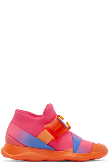 Christopher Kane - Pink Neoprene Buckle High-Top Sneakers