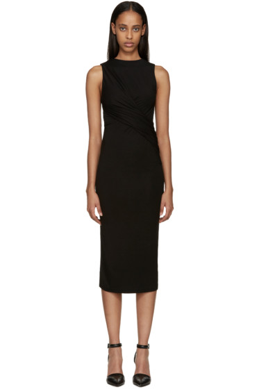 T by Alexander Wang - Black Draped Jersey Dress