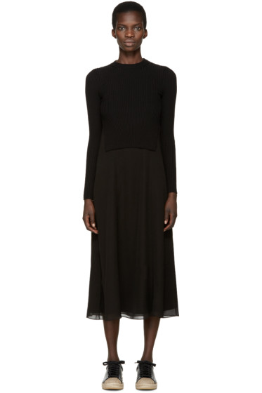 T by Alexander Wang - Black Knit & Silk Layered Dress