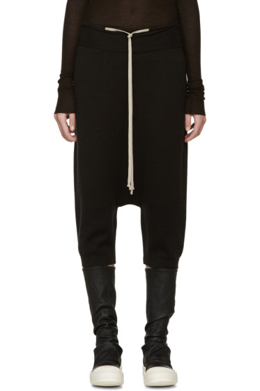 Rick Owens - Black Wool Pods Sarouel Shorts