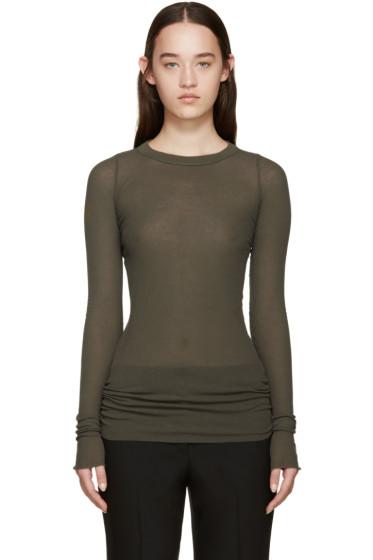 Rick Owens - Green Overlong Ribbed T-Shirt