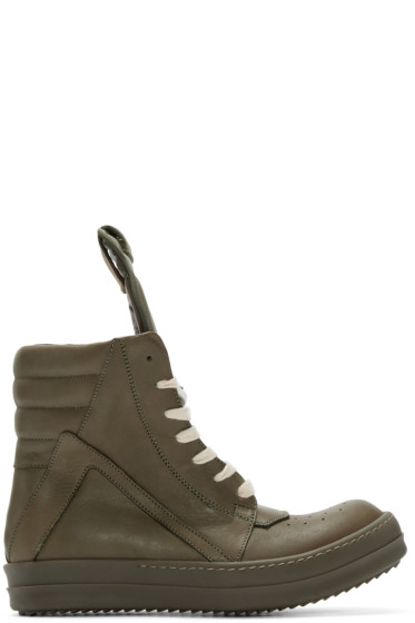 Rick Owens - Green Geobasket High-Top Sneakers