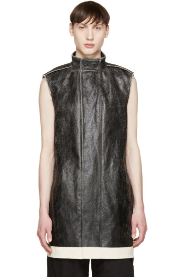 Rick Owens - Black Coated Canvas Vest