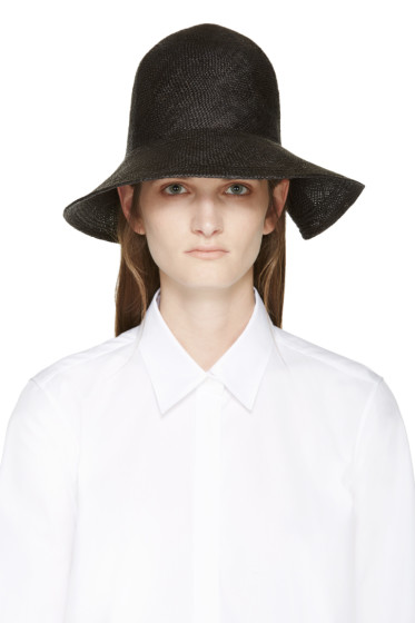 Jil Sander - Black Straw Asymmetrical Hat