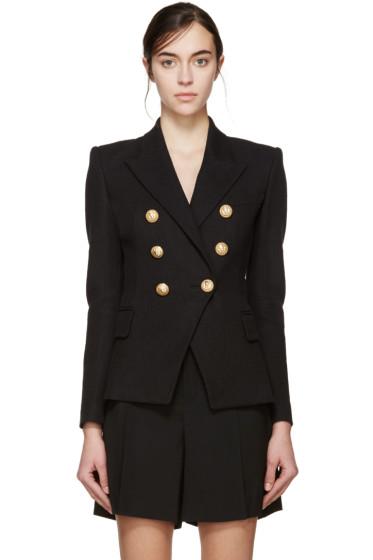 Balmain - Black Double-Breasted Tweed Blazer