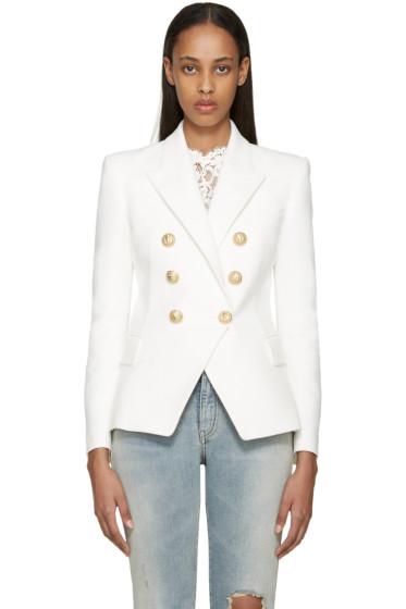 Balmain - White Tweed Classic Blazer
