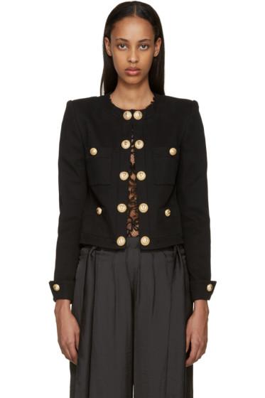 Balmain - Black Twill Short Blazer