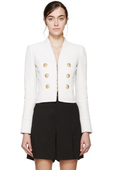 Balmain - Off-White Cropped Linen Blazer