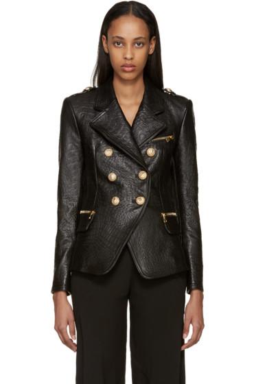 Balmain - Black Croc-Embossed Leather Jacket
