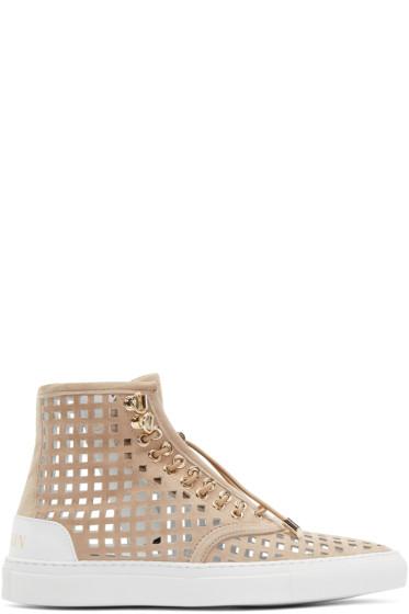 Balmain - Beige Suede Perforated High-Top Sneakers