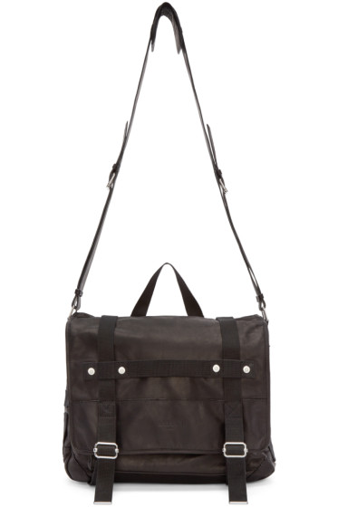 Balmain - Black Leather Messenger Bag