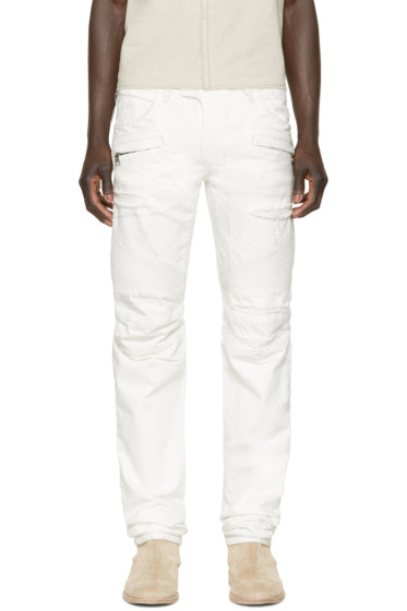 Balmain - White Distressed Biker Jeans