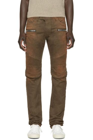 Balmain - Brown Faded Biker Jeans