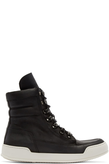 Balmain - Black Leather High-Top Sneakers