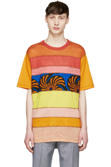 Junya Watanabe - Red & Orange Mesh Panel T-Shirt