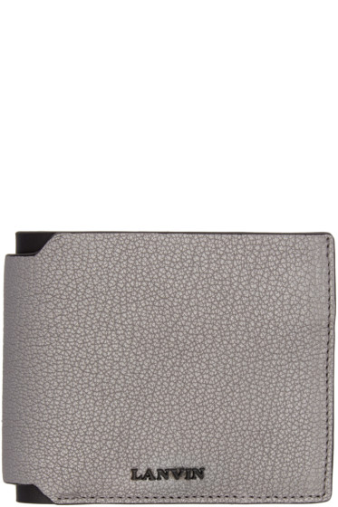 Lanvin - Grey Grained Leather Bifold Wallet