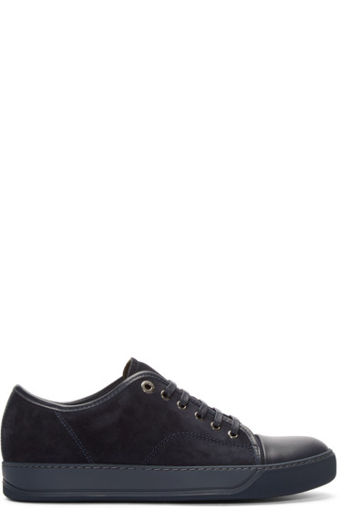 Lanvin - Navy Suede & Leather Tennis Sneakers