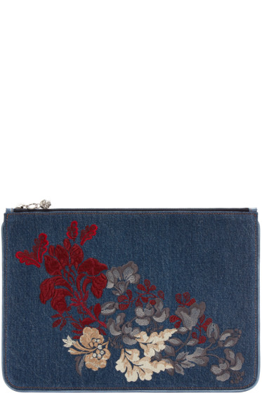 Alexander McQueen - Blue Embroidered Denim Zip Pouch