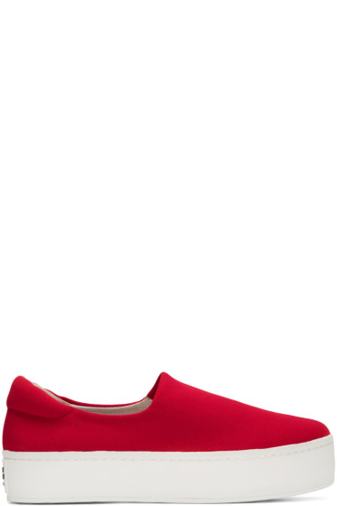 Opening Ceremony - Red Slip-On Platform Sneakers