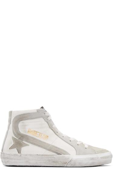 Golden Goose - White & Grey Slide High-Top Sneakers