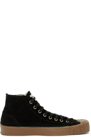 Comme des Garçons Shirt - Black Suede Sparlwart Edition High-Top Sneakers