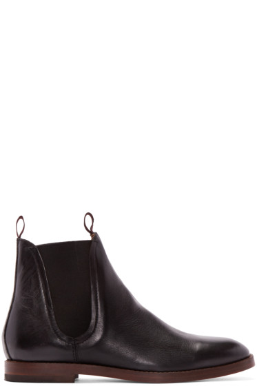 H by Hudson - Black Leather Tamper Boots