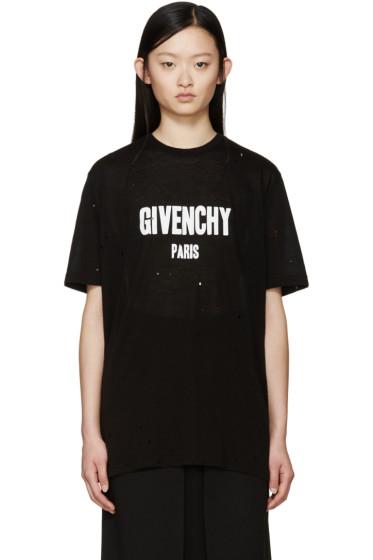 Givenchy - Black Distressed Logo T-Shirt