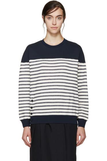 3.1 Phillip Lim - Navy & Cream Striped Sweatshirt