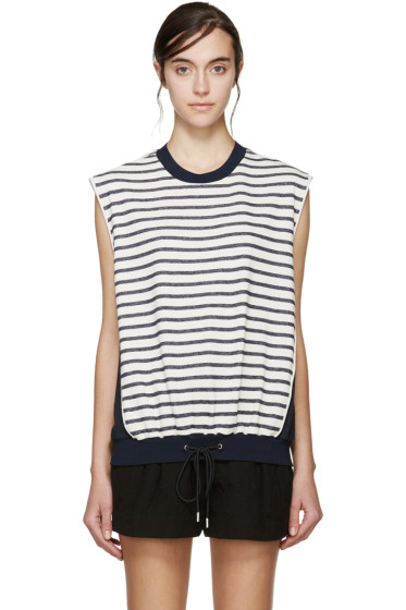 3.1 Phillip Lim - Navy & Cream Sleeveless Striped Sweatshirt