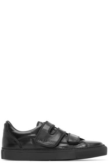 Raf Simons - Black Leather Velcro Sneakers