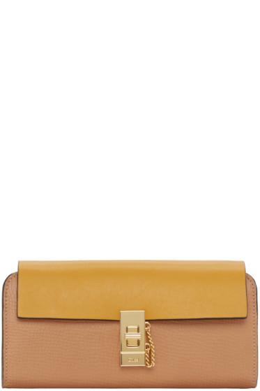 Chloé - Yellow & Tan Long Flap Drew Wallet