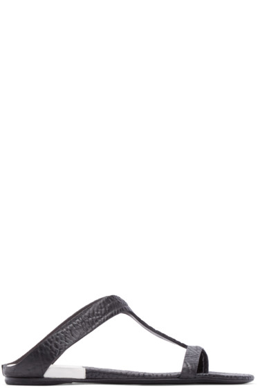 Marsèll - Black Pebbled Leather Sandals