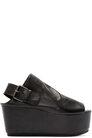 Marsèll - Black Leather Platform Tampolo Sandals