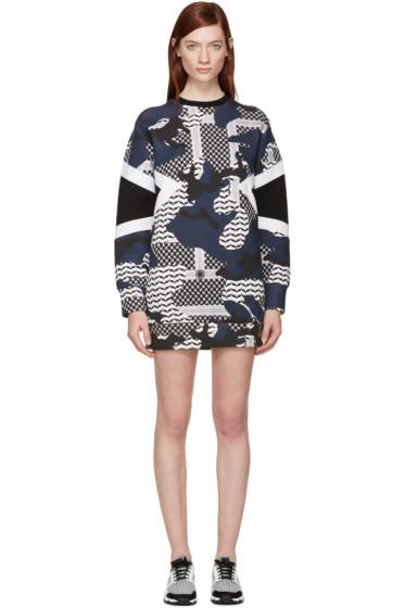 Neil Barrett - Navy Kefiah Modernist Camouflage Dress