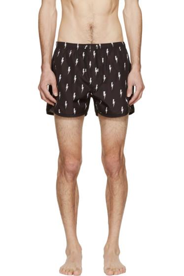 Neil Barrett - Black Nylon Thunderbolt Swim Shorts